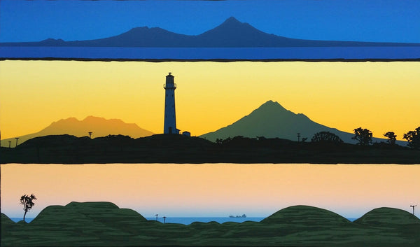 Taranaki and lighthouse, Triptych