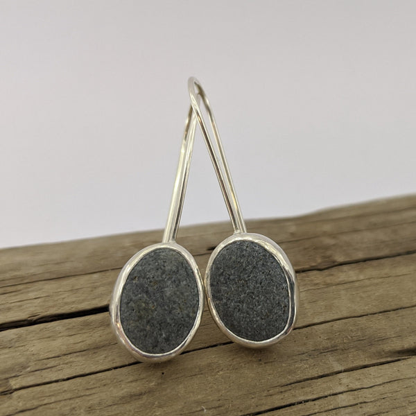 South Westland beach pebble drop hook earrings