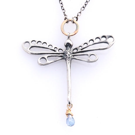 Silver and Gold Dragonfly with Mystic Topaz