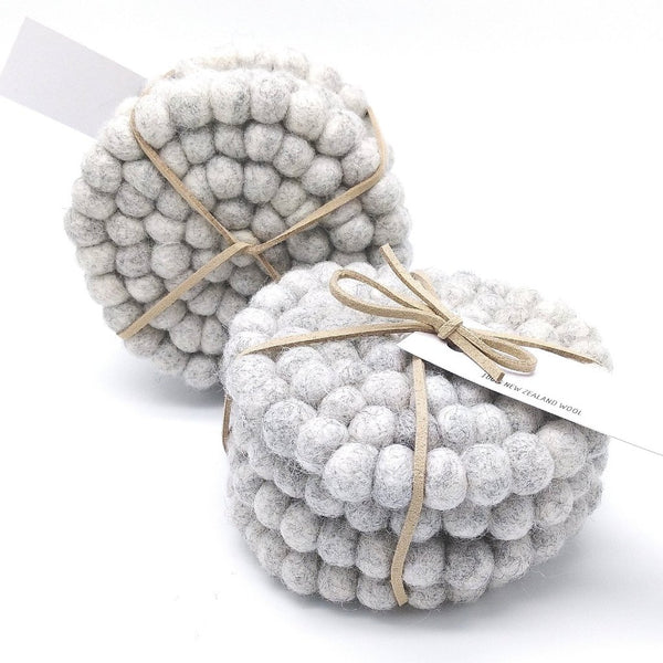 Felt ball coasters Grey Marle