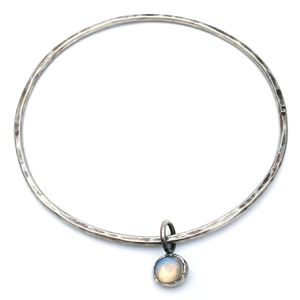 Hammered wire and moonstone satellite bangle