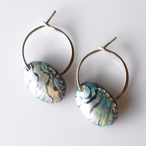 Paua shell hoop earrings