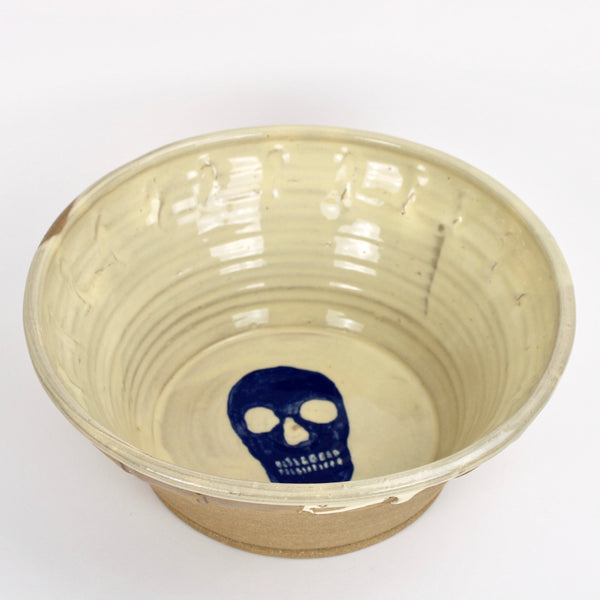 Large Blue Skull Bowl