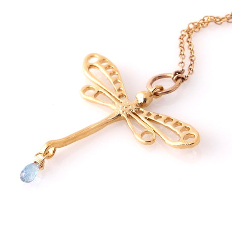 Gold Plate Dragonfly Necklace with Mystic Topaz