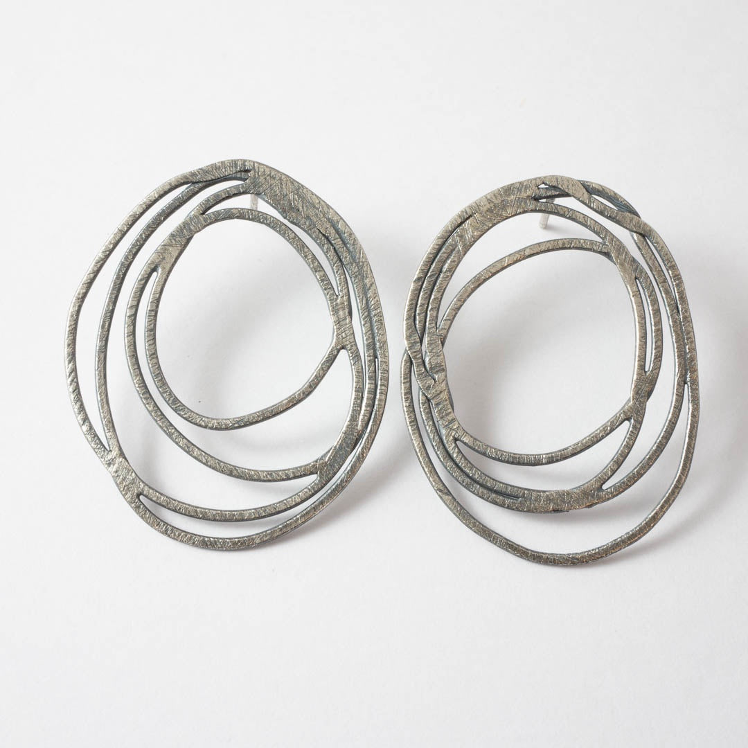 Oval scribble earrings - medium oxidised