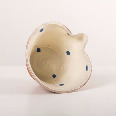 Small White Pouring Bowl - blue spots
