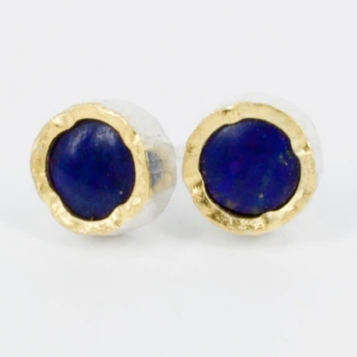 Gold edged round lapis studs