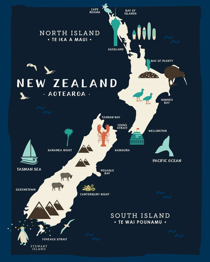 Lens cloth - Map of NZ