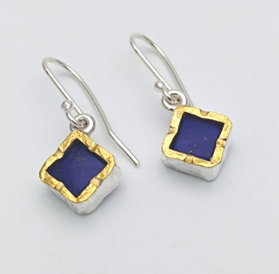 Square 22ct gold edged lapis silver earrings