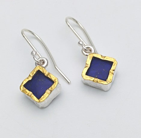 Lapis earrings - square gold