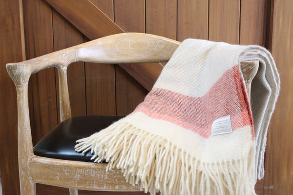 Red End-Stripe Lambs Wool Blanket