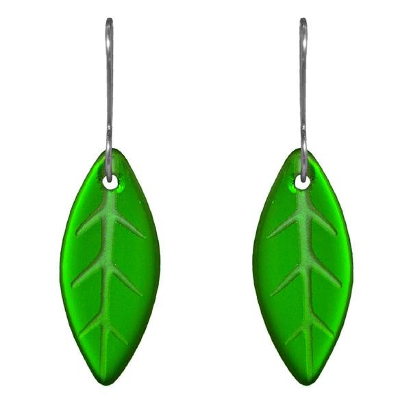 Leaf earrings - green