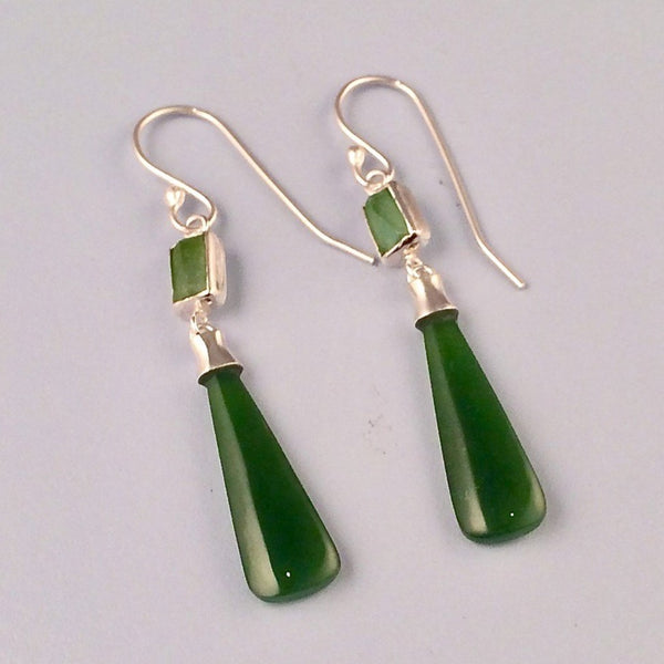 Tourmaline and greenstone drop silver earrings
