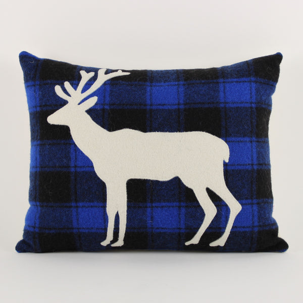 Deer cushion - blue check background