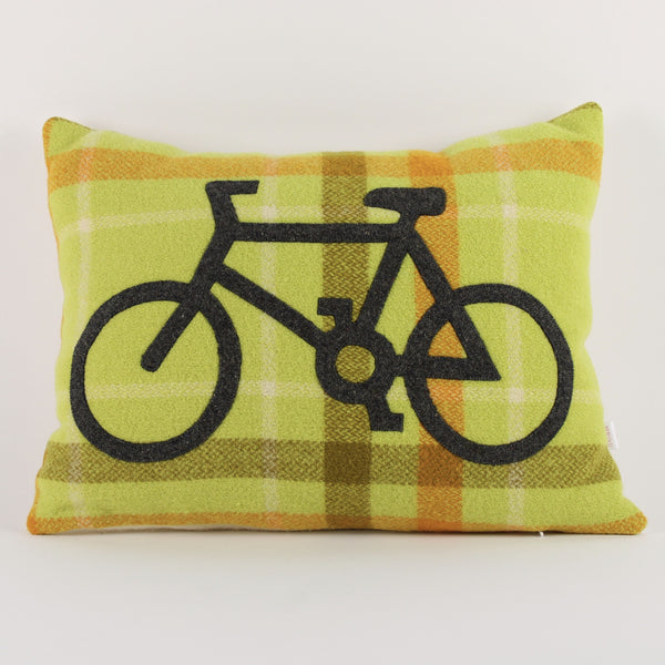 Bicycle cushion - green check background