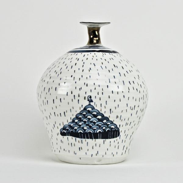 Silver blue vase - narrow neck