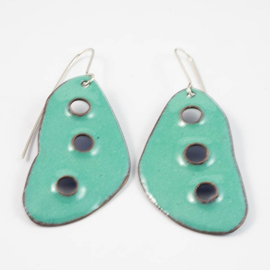 3 Hole earrings - green