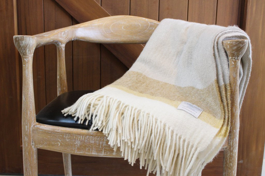 Yellow End-Stripe Lambs Wool Blanket