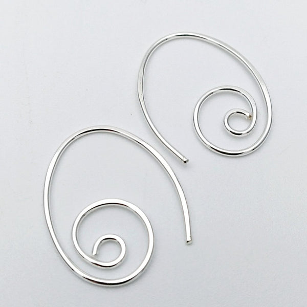 Elliptical spiral earrings Silver or Gold
