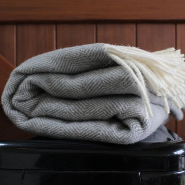Soft Grey Lambs Wool Blanket