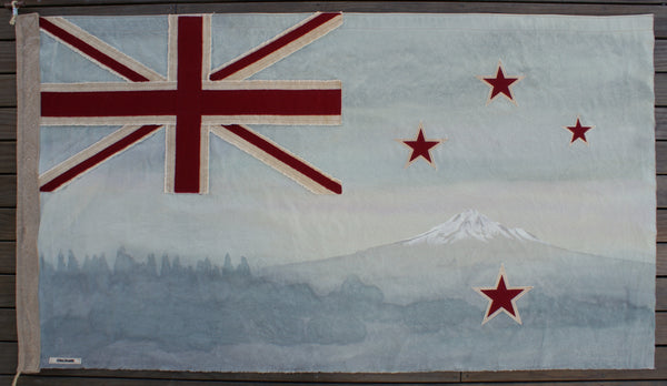 Taranaki Trees Flag - pale blue