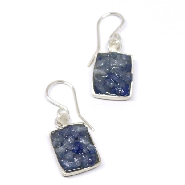 Blue quartz square earrings