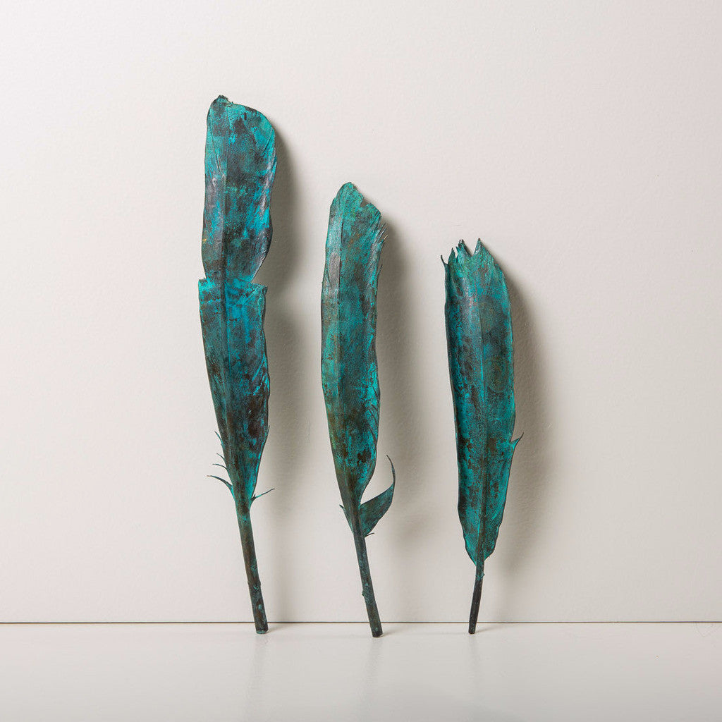 Green Patina Copper Feather