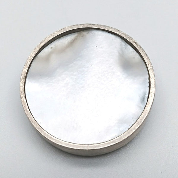 Silver mother of pearl brooch