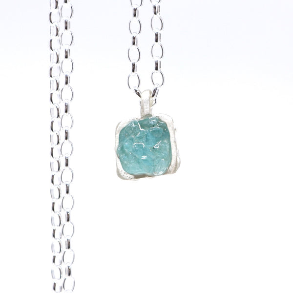 Pale apatite square pendant - small