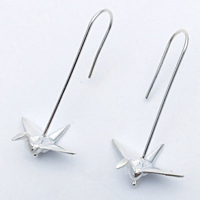 Silver origami crane earrings