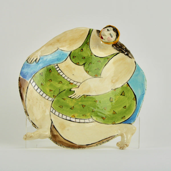 Plate - fat beach green lady