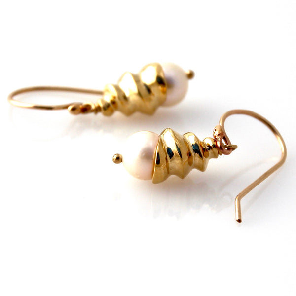 Gold spiral shell earrings