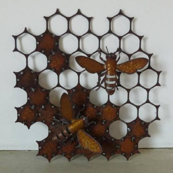 Honeycomb with bees