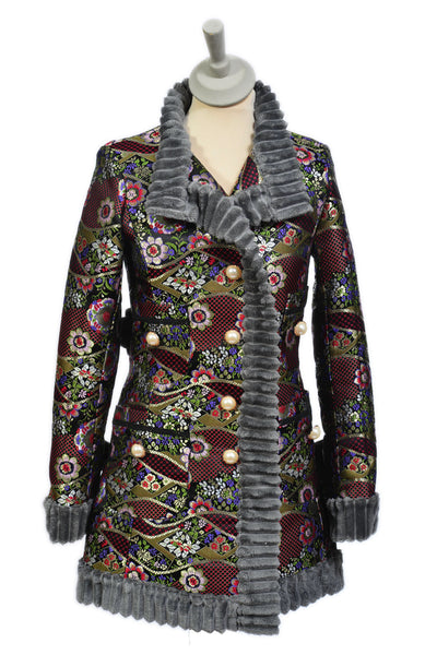 Brocade Jacket with Soft Ripple Trim in Multi Black