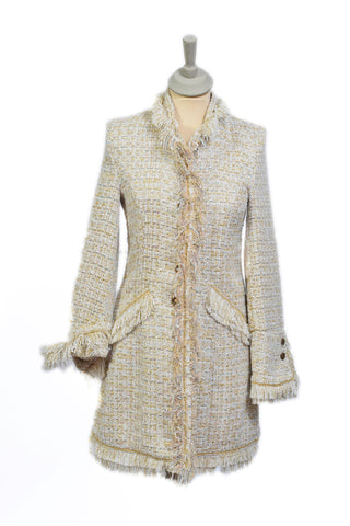 Cream Fringe Coat with Slight Gold Thread.