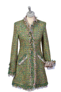 Emerald Green Mix Fringe Long Jacket