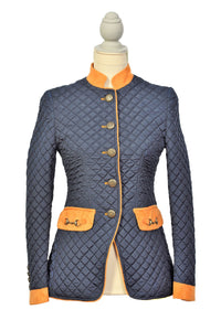 Navy Quilted Snaffle Jacket with Orange Trim