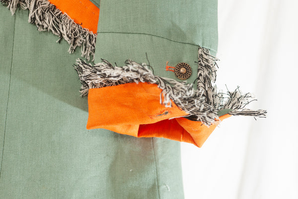 On the Fringe Linen Jacket Eau De Nil and Tangerine