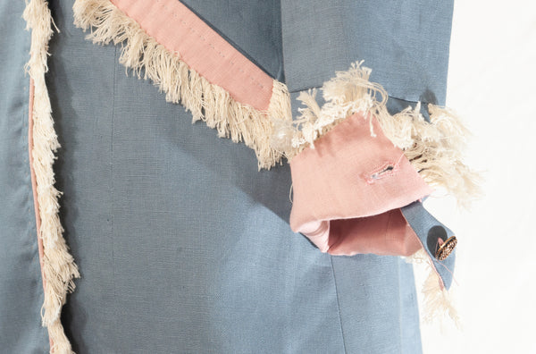 On the Fringe Linen Jacket in Powder Blue with Pale Pink