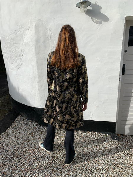 Satin Tiger Printed Semi-fitted Coat in Black.