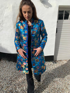 Satin Printed Semi-fitted Coat in Multi Blues