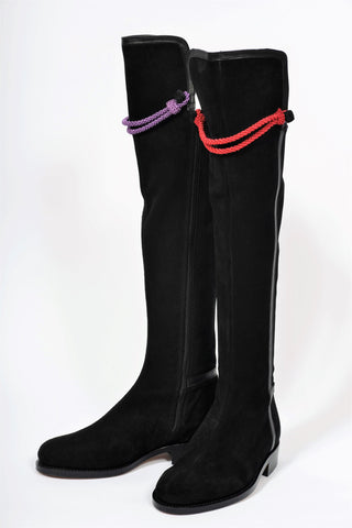 Hampton Low Heel Black Suede Knee Boot