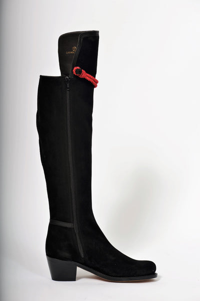 Hampton Mid Heel Black Suede Knee Boot
