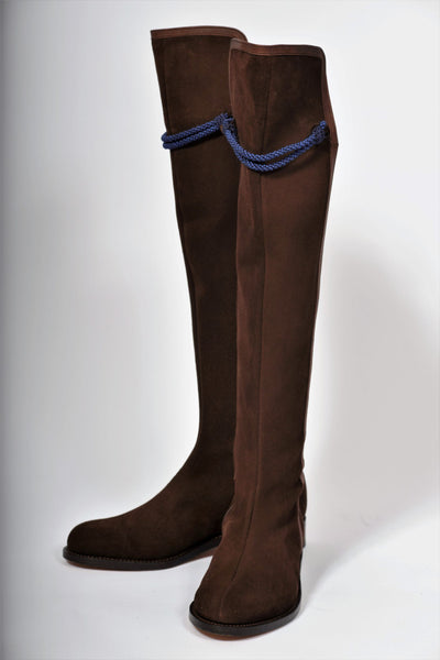 Hampton Mid Heel Brown Suede Knee Boot