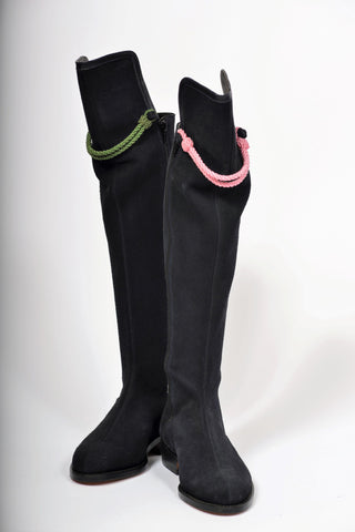 Hampton Mid Heel Navy Suede Knee Boot