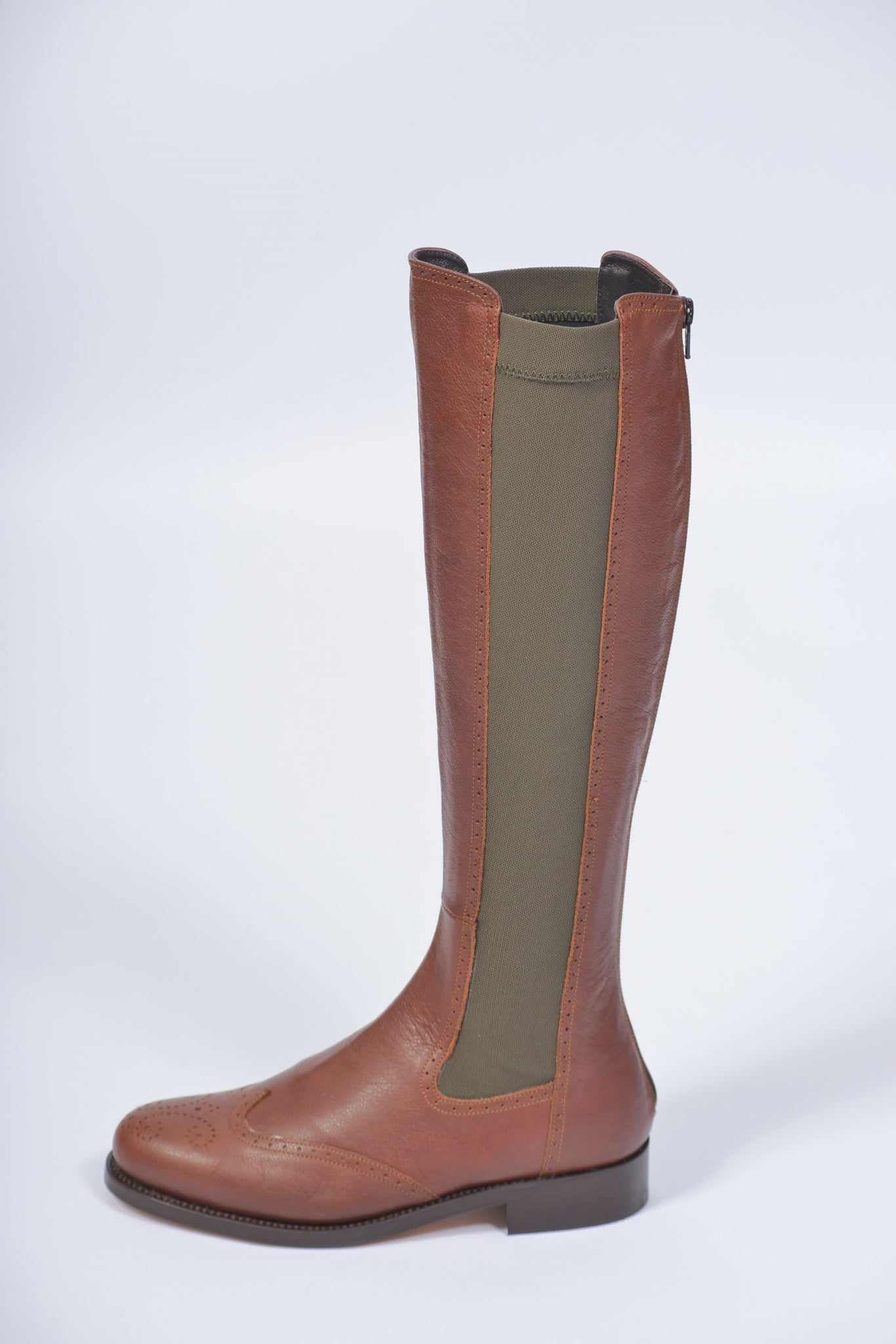 Tan and Khaki Knee Length Boot