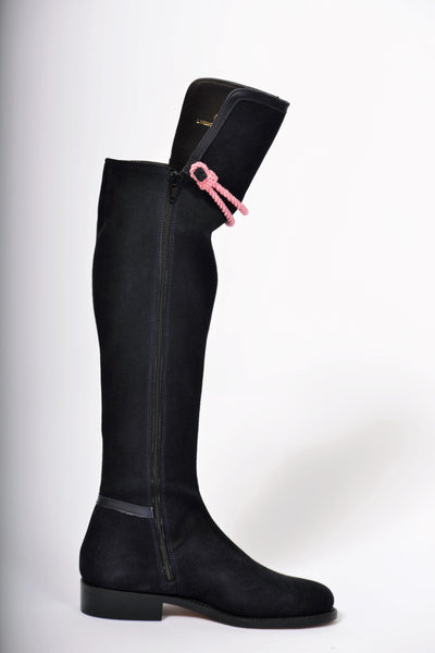 Hampton Low Heel Navy Suede Knee Boot