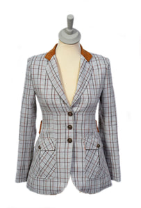 Stone and Tan Check Jacket Short Style
