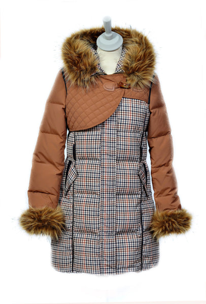 Tan Check Padded County Coat