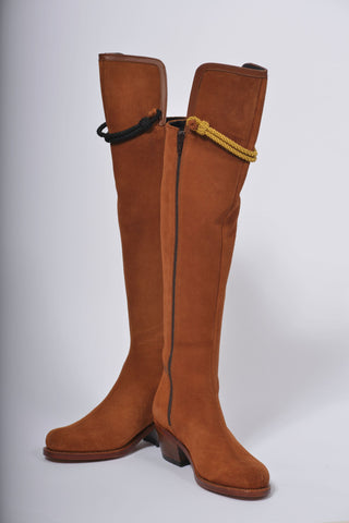 Hampton Mid Heel Tan Suede Knee Boot